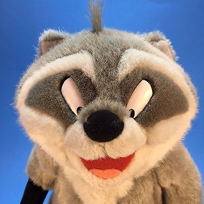 """Disney Meeko Racoon Pocahontas 12"""" Plush Moveable Head &  Arms with Biscuit"""
