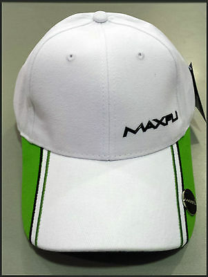 Maxfli Golf Cap With Magnetic Ball Marker - White/ Lime - Adjustable - New!
