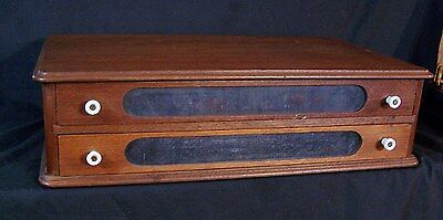 Antique Walnut Wood 2 Drawer Spool / Silk Cabinet Counter Top Store Display NICE