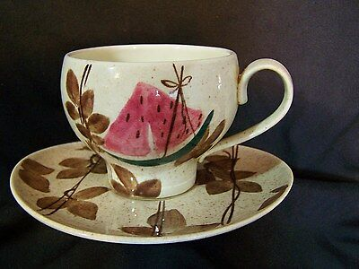 Vintage REDWING CUP & 2 SAUCER S Plates Mid Century Futura Watermelon TAMPICO
