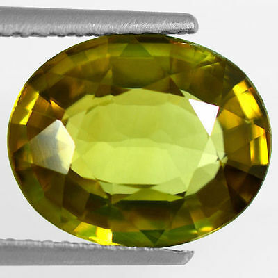3.90 Cts Natural Top Flawless Brownish Green Color Sphene Oval Cut Pakistan Gem