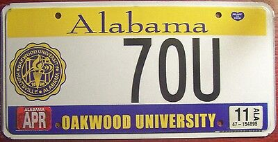 2011 Alabama Oakwood College University Specialty  License Plate Auto Tag Seal