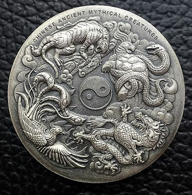 2016 Chinese Ancient Mythical Creatures 2 oz .999 Silver Antique High Relief