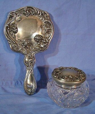 Antique Art Nouveau Silverplate Repousse Vanity Hand Mirror & Dresser Jar c1905