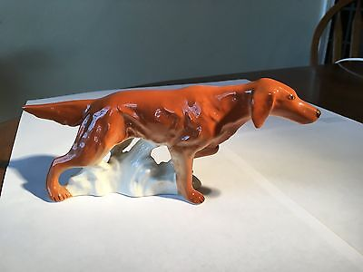 Vintage Pointing Irish Setter Figurine, made in USSR