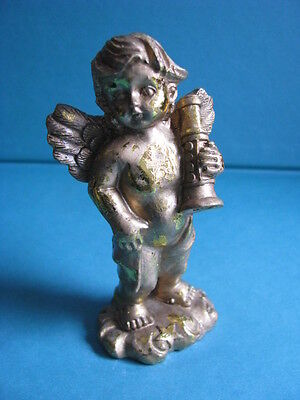 LOVELY  GOLD   ANGEL  FIGURINE.   -  STANDING -  with  MUSICAL  INSTRUMENT .