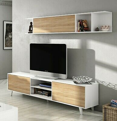 Mueble salón comedor, modulo TV + estante color Blanco Brillo y Roble Canadian,