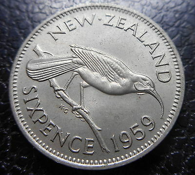 New Zealand 1959 QEII 6d sixpence  Coin UNC