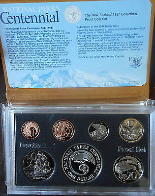 New Zealand 1987 Proof Set inc Parks Silver  $1 coin