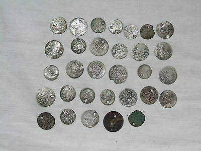 Lot 31 Antique Ottoman Empire Turkish Islamic Silver Akce Akche Drilled Coins *7