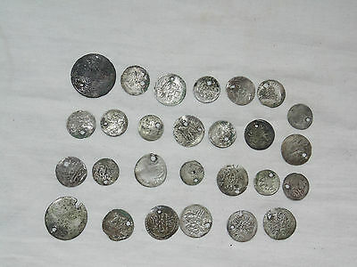 Lot 27 Antique Ottoman Empire Turkish Islamic Silver Akce Akche Drilled Coins *4