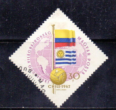 Hungary  Stamp  Flags of Columbia &  Uruguay -  Football - Soccer 1962.