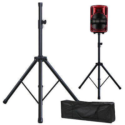 2 X PA Speaker Stands Professional Steel Heavy Duty Band DJ+ Carry Bag AU