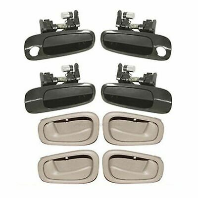 DS26 For 98-02 Corolla Prizm 4PCS Outer Non Painted & 4PCS Inner Tan Door Handle