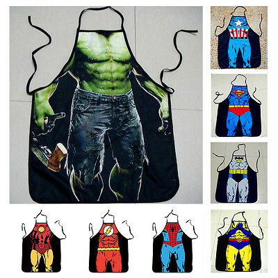 Unisex Patterns Superheroes Novelty Naked Kitchen Funny Cooking BBQ Party Apron