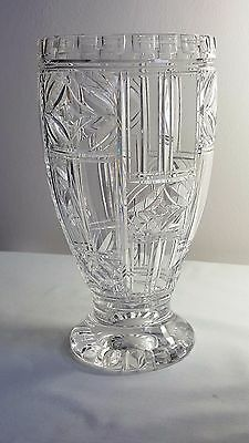 Stuart crystal 1940's cut glass  8 3/4 inch vase.