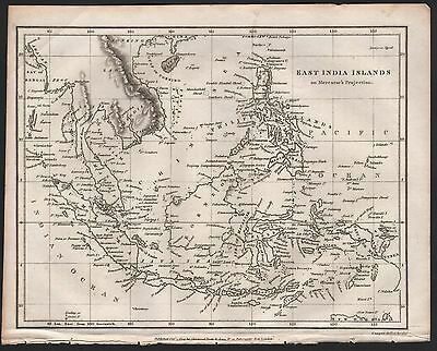 1809 Antique Map - East India Islands On Mercator's Projection