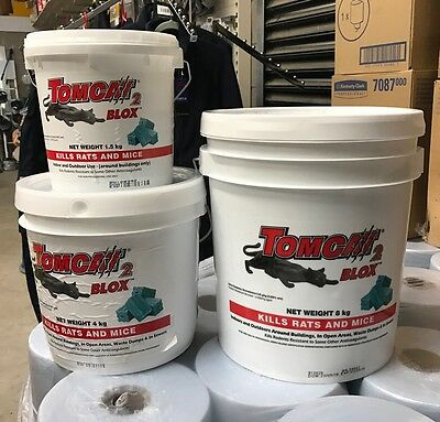 TOMCAT 2 RAT POISON BLOX Rodent Bait Mouse 4kg Tub Ready to Use Block + Gloves