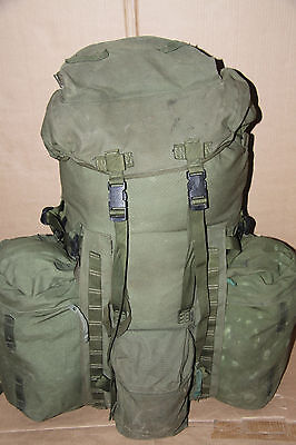 Genuine British Army Olive Bergen Rucksack120 L With Side Pouches Longback