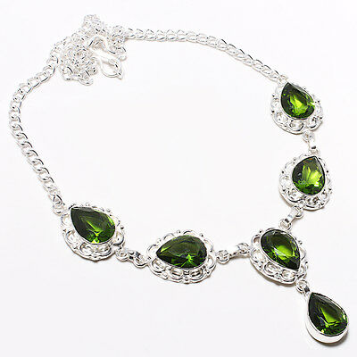 """Faceted Peridot Gemstone 925 Silver Necklace 12623 Size 17-18"""""""