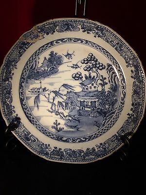Antique Chinese Blue And White Plate With Repair, Genuine And Original 23cm Wide