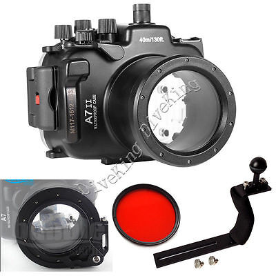 Underwater Housing Diving Case For Sony A7 Mark II 28-70mm Lens Red filter Arm