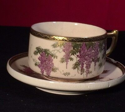 Japanese Satsuma Cup And Saucer wisteria pattern 1920's