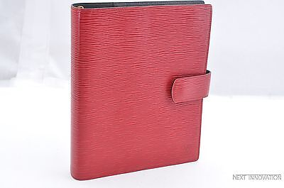 Authentic Louis Vuitton Epi Agenda GM Day Planner Cover Red LV 28792