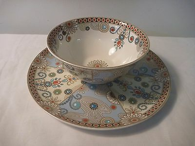 "Spode ""Jewel, Turquoise and Pearls"" Plate and Bowl."