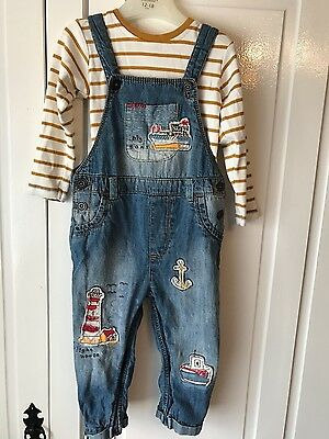 next boys dungaree set 12-18 months immaculate