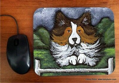MOUSE PAD SHELTIE SHETLAND SHEEPDOG SABLE  AGILITY QUEEN BY  Amy Bolin
