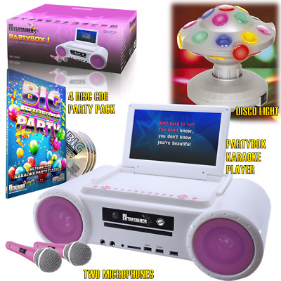 Partybox Karaoke Machine PINK PARTY Package with Party Lights, CDG Songs & Mics