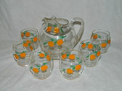 Vintage Orange Juice Pitcher & Glass Set