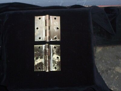 Antique BRASS Hinges Vtg Brass Plated STANLEY WORKS Pair HINGES USA F 179