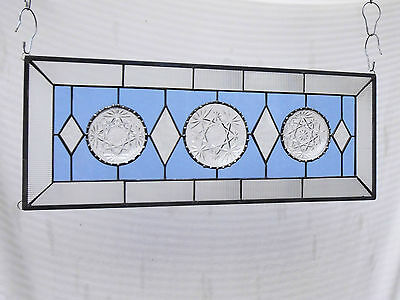 Vintage Stained Glass Transom Window, Depression Glass Stained Glass Panel, OOAK