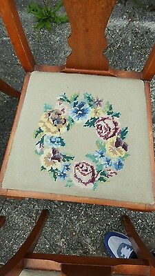 4 Queen Anne style Edwardian chairs with needlepoint upholstery original