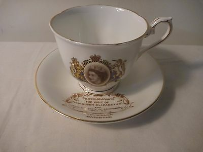 Mixed cup and saucer, royal visit 1954, Royal Albert and Taylor Kent