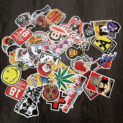 50× Random Stickers Vinyl Skateboard Guitar Travel Case Sticker Pack Decals Cool