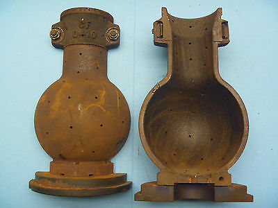 2 Piece Cast Iron Foundry Incandescant Light Bulb Mold Industrial History