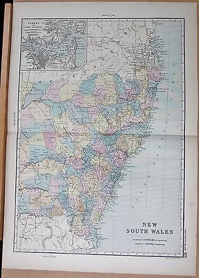 1890 Large Victorian Map -Australia New South Wales, Inset Sydney, Port Jackson