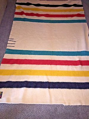 Vintage Genuine 3 1/2 Point Wool Striped Trapper Blanket - Made in England