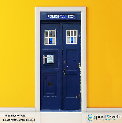 Dr Who Tardis Box Vinyl Door Wrap Decal Sticker Self Adhesive Police Box Bedroom