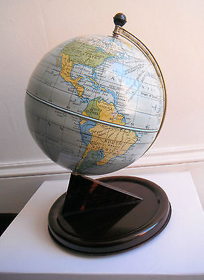 LOVELY VINTAGE CHAD VALLEY TINPLATE 1950s RETRO GLOBE WITH CLOCK SETTING