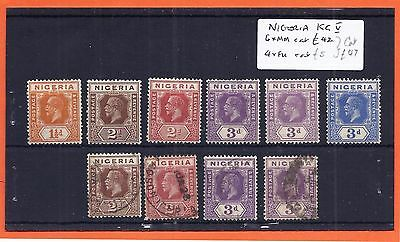 NIGERIA  KGV  Definitives selection. 6 x MM, 4 x Used.  Good cat value. Dies ?.