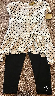 BNWT Beautiful Designer Nicole Miller New York Girls Top And Legging Set Age 3
