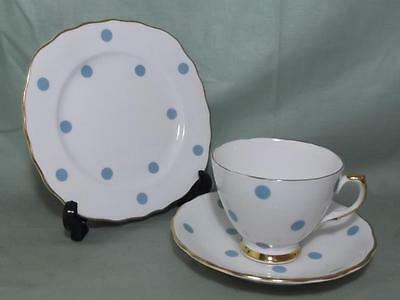 Vintage Royal Vale Pale Blue Polka Dot Trio Tea Cup Saucer & Side Plate