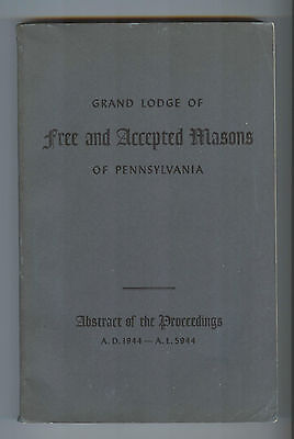 PA Grand Lodge Free & Accepted Masons Pennsylvania 1944 Abstract Masonic Book