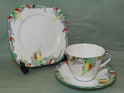Vintage Bell China Trio Tea Cup Saucer & Side Plate  Art Deco Pattern 2975
