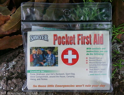 Sawyer Pocket First Aid Kit Wound Clean Up & Treatment Bushcraft Survival Edc