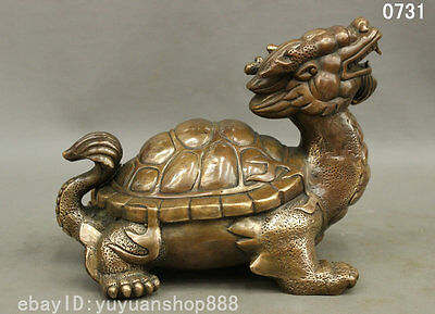 "10"" Chinese FengShui Bronze Copper Longevity Shou Dragon Turtle Statue Sculpture"